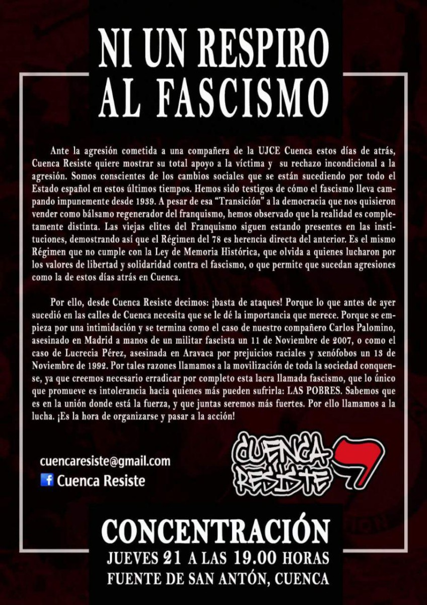 Concentración antifascista Cuenca, 22/12/17